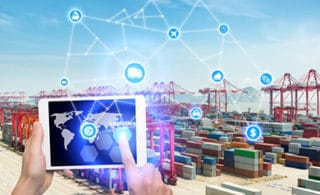 Logistics industry virtual interface presented on a tablet